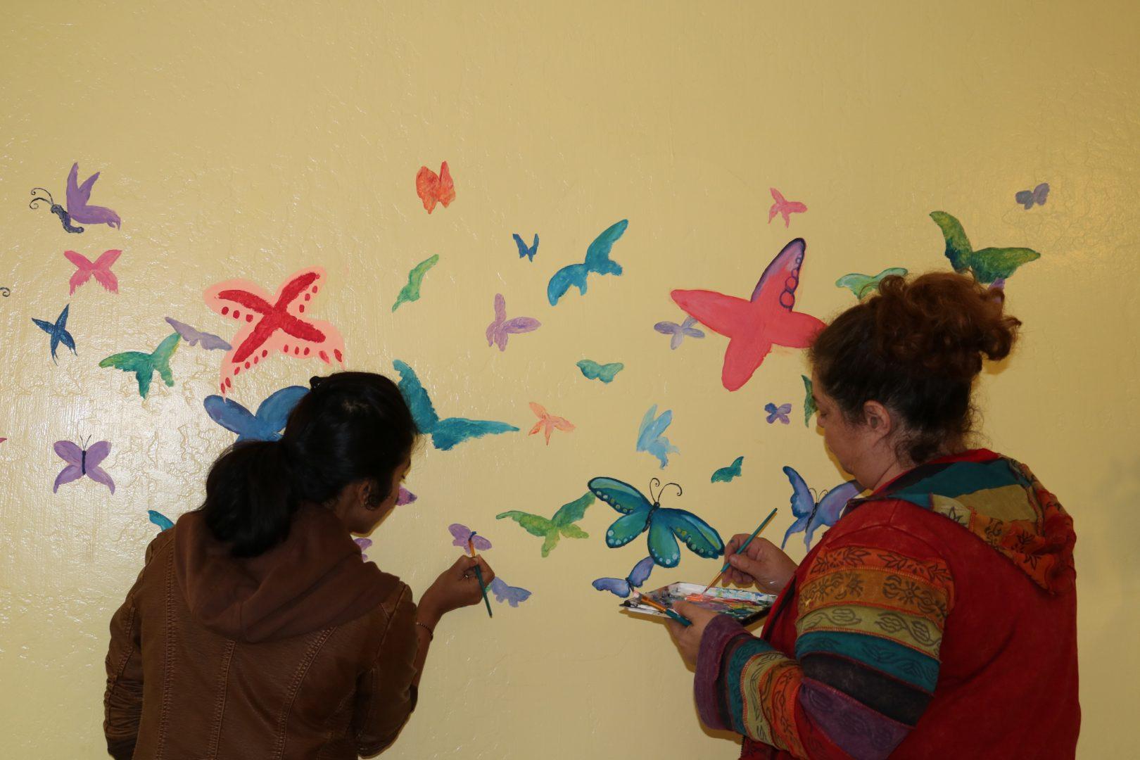 YCN Butterfly Mural in progress